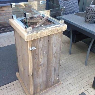 Vuurzuil oud steigerhout