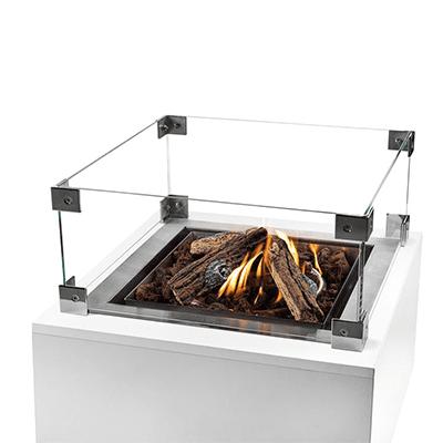 Glazen ombouw inbouwbrander vierkant groot