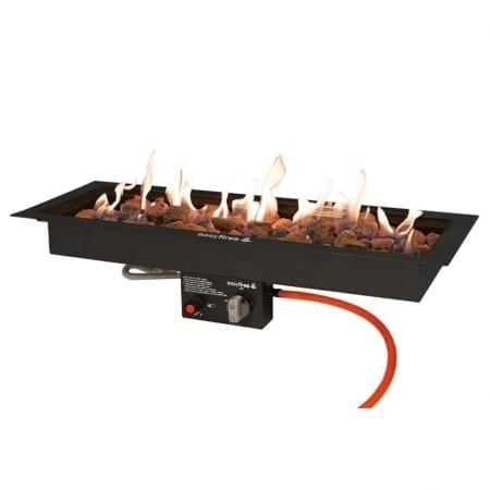 Inbouwbrander 76 cm x 26 cm zwart (Limited edition!) met vuur