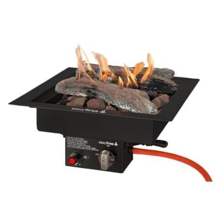 Vuurtafel vierkant met blokken en vuur zwart